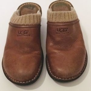 UGG Shoes - UGG 6 Tan Leather Sweater Cuff Fur Clog Mules